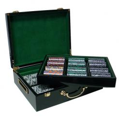500 Ace King Suited Poker Chip Set with Humidor Case