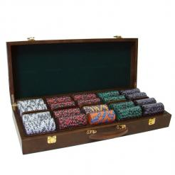 500 ace king poker chip set in a walnut case with removable chip trays