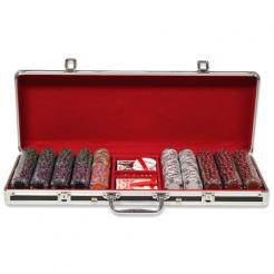 500 ace king suited poker chip set in a black aluminum case