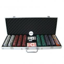 500 ace king suited poker chip set in an aluminum case