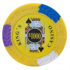 bundle of 25 yellow kings casino poker chips