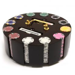 300 ace king suited poker chip set in a wooden chip carousel