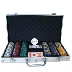 300 ace king suited poker chip set in an aluminum case
