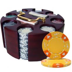 200 ace king suited poker chip set in a wooden chip carousel