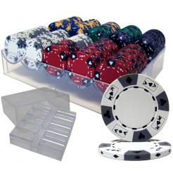 200 ace king poker chip set in an acrylic chip tray with lid