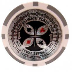 Bundle of 25 white ultimate poker chips