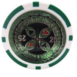 Bundle of 25 green ultimate poker chips