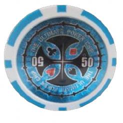 Bundle of 25 light blue ultimate poker chips