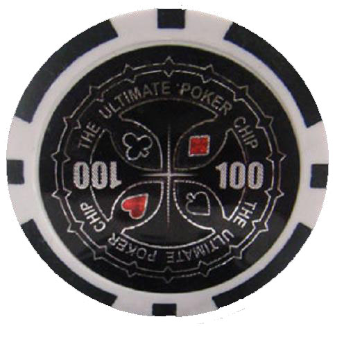 25 Black Ultimate Poker Chips 100 Chip Value Cpup 100 25