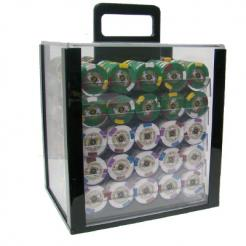 1000 kings casino poker chip set in a acrylic chip carrier with 10 chip trays