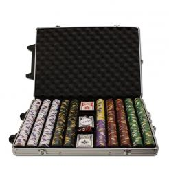1000 Kings Casino Poker Chip Set in a Rolling Aluminum Case