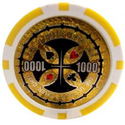 Bundle of 25 yellow ultimate poker chips