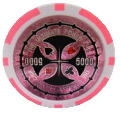 Bundle of 25 pink ultimate poker chips