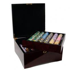 750 kings casino poker chip set in a mahogany case
