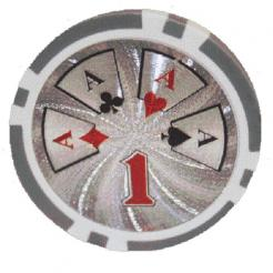 Bundle of 25 white royal flush poker chips