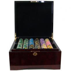 500 kings casino poker chip set in a mahogany case