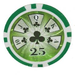 Bundle of 25 green royal flush poker chips