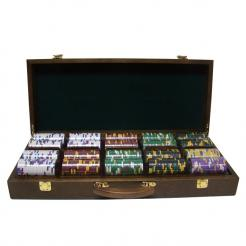500 kings casino poker chip set in a walnut case with 5 removable chip trays
