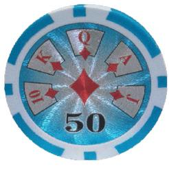Bundle of 25 light blue royal flush poker chips