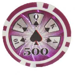 Bundle of 25 purple royal flush poker chips