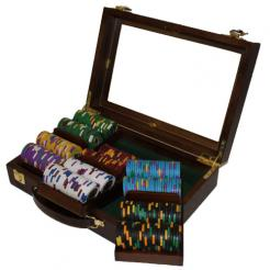 300 kings casino poker chip set in a walnut case with 3 removable chip trays