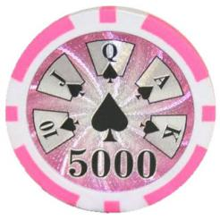 Bundle of 25 pink royal flush poker chips