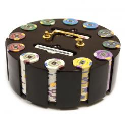 300 kings casino poker chip set in a wooden chip carousel