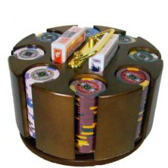 200 Kings Casino Poker Chip Set in a wooden chip carousel