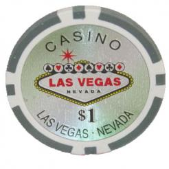 Bundle of 25 white Las Vegas Casino poker chips