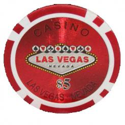Bundle of 25 red Las Vegas Casino poker chips