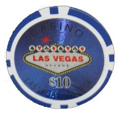 Bundle of 25 blue Las Vegas Casino poker chips