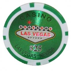 25 Green Las Vegas Casino Poker Chips 25 Chip Value