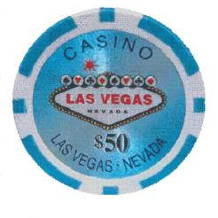 Bundle of 25 light blue Las Vegas Casino poker chips