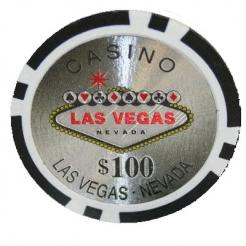 Bundle of 25 black Las Vegas Casino poker chips
