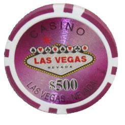 Bundle of 25 purple Las Vegas Casino poker chips