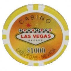 Bundle of 25 yellow Las Vegas Casino poker chips