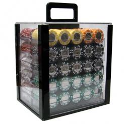 1000 coin inlay poker chip set in an acrylic chip carrier with 10 chip trays