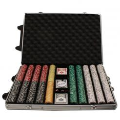 1000 Coin Inlay Poker Chip Set in a Rolling Aluminum Case