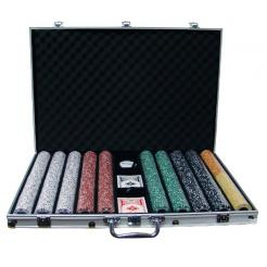 1000 coin inlay poker chip set in an aluminum case