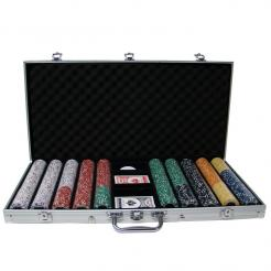 750 coin inlay poker chip set in an aluminum case