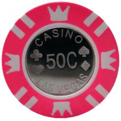 Bundle of 25 pink coin inlay poker chips