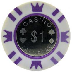 Bundle of 25 white coin inlay poker chips