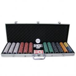 600 Coin Inlay Poker Chip Set in an aluminum chip case