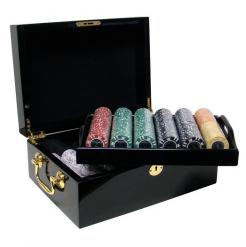500 coin inlay poker chip set in a mahogany case
