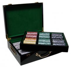 500 coin inlay poker chip set in a humidor style case