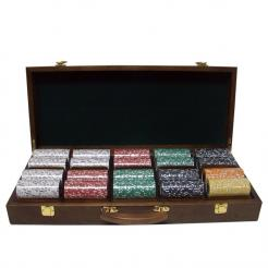 500 Coin Inlay Poker Chip Set in a Walnut Case with 5 removable chip trays
