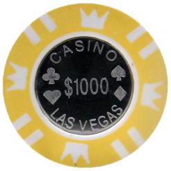 Bundle of 25 yellow coin inlay poker chips