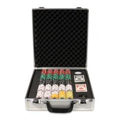 500 Coin Inlay Poker Chip Set in a Claysmith Case with 5 chip trays