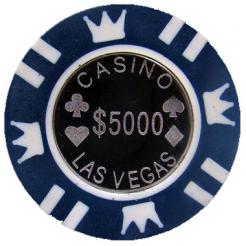 Bundle of 25 blue coin inlay poker chips