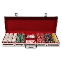 500 Coin Inlay Poker Chip Set in a Black Aluminum Case